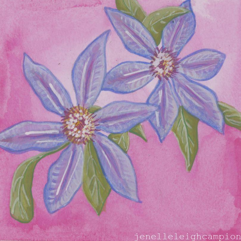 Purple Flowers (Flower, Blossom) on Gouache on Paper by New Orleans Jackson Square Artist, Jenelle Leigh Campion MFA @jenelleleighc