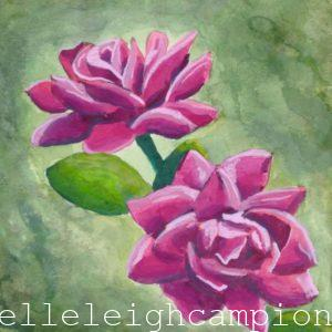 Roses (Flower, Blossom) on Gouache on Paper by New Orleans Jackson Square Artist, Jenelle Leigh Campion MFA @jenelleleighc