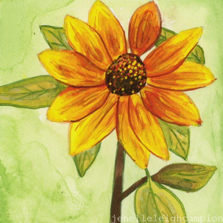 Sunflower (Flower, Blossom) on Gouache on Paper by New Orleans Jackson Square Artist, Jenelle Leigh Campion MFA @jenelleleighc
