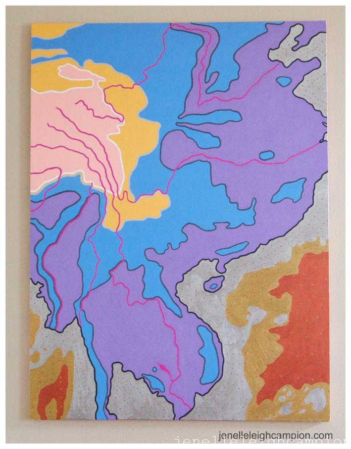 Rivers of Tibet (River) (Brahmaputra River, Irrawaddy River, Mekong River, Salween River, Yangtze River, Yellow River) on Acrylic on Canvas by New Orleans Jackson Square Artist, Jenelle Leigh Campion MFA @jenelleleighc