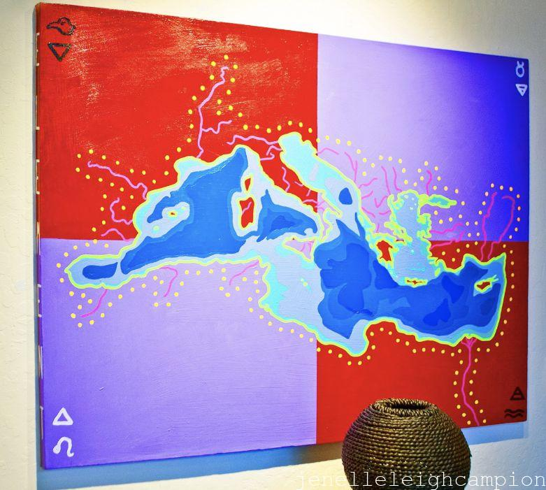 "Mediterranean Sea Rivers (Mystery) Acrylic on canvas, 30"" x 40"", 2010 Photo: Glen Graves"