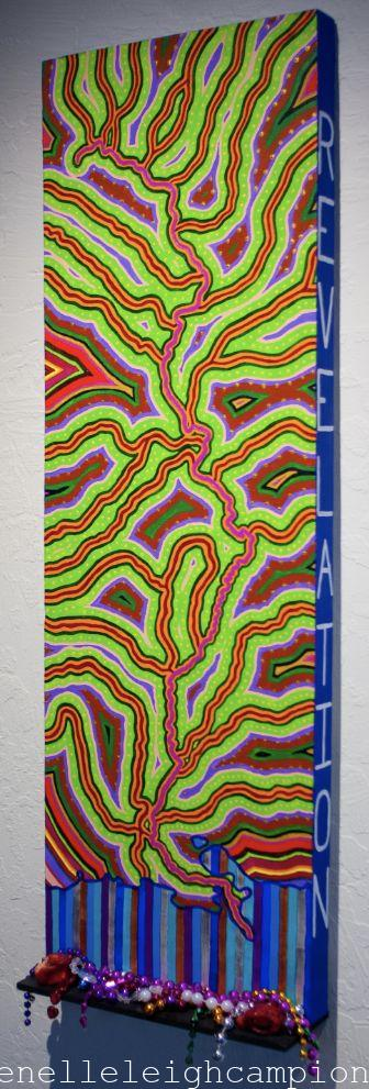 "Mississippi River (Flow) Acrylic on canvas, wood, red coral, mardi gras beads, 36"" x 12"", 2010 Photo: Glen Graves"