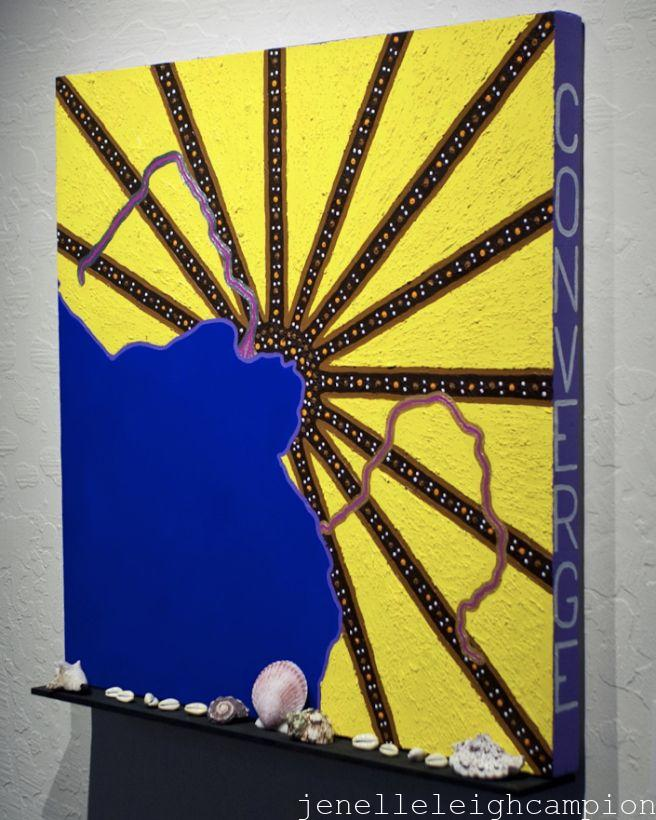 "Niger River and Congo River (Ocean) Acrylic on canvas, wood, shells, 24"" x 24"", 2012 Photo: Glen Graves"