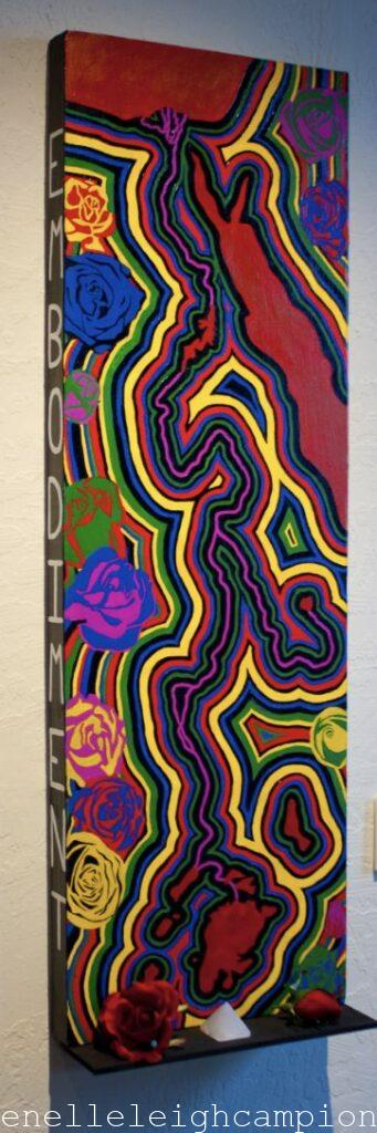 "Nile River (Alchemy) Acrylic on canvas, wood, plastic roses, selenite, 36"" x 12"", 2010 Photo: Glen Graves"